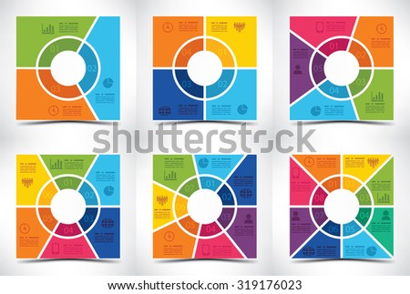 Collection of six square shaped presentation templates - stock vector