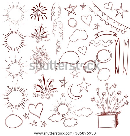 Collection of 47 sketched retro elements. VECTOR vinous illustration isolated on white. - stock vector
