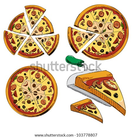 Collection of sliced pizza isolated on white background. Hand drawing sketch vector illustration - stock vector