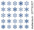 collection of 25 snowflakes - stock vector