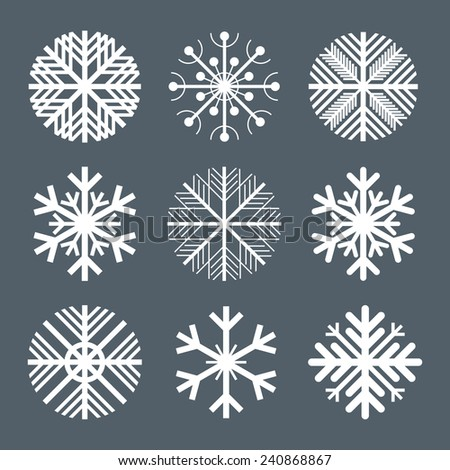 Collection of snowflakes vector - stock vector