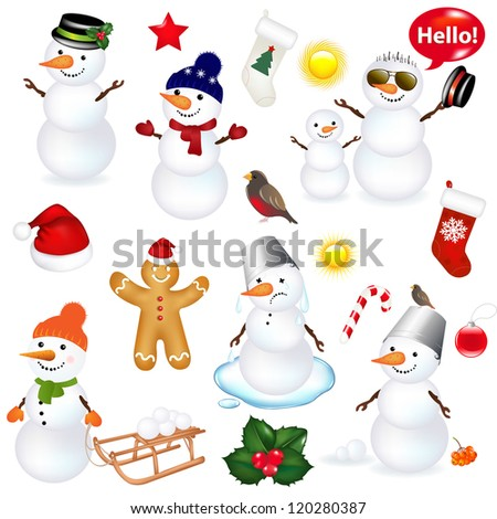 Collection Of Snowmen And Christmas Icons, Isolated On White Background With Gradient Mesh, Vector Illustration - stock vector