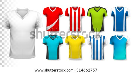Collection of soccer jerseys with an editable template for your own design. Vector. - stock vector