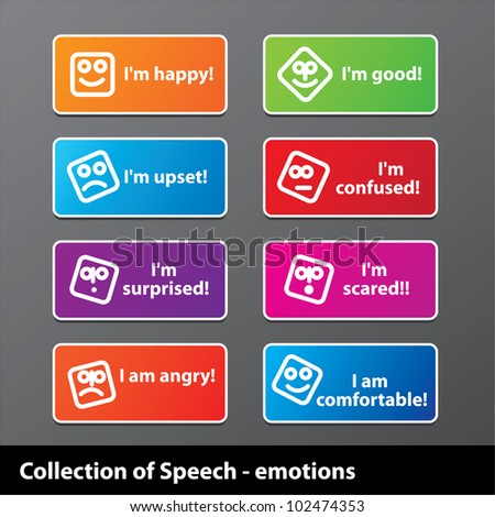 Collection of speech - emotion. Happiness, joy, grief, fear and other. Vector. - stock vector