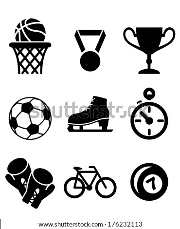 Collection of sports icons logo including basketball, soccer , football, ice skating, boxing gloves, cycling and bowls with a winners medal, trophy and stopwatch in black and white - stock vector