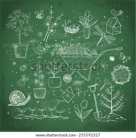 Collection of spring doodle sketch elements on green chalkboard: flowers, gardener's tool, bugs, spring trees, bird's nests with eggs. - stock vector