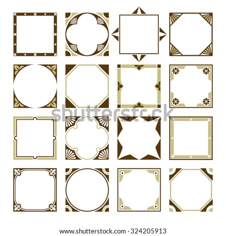 Collection Of Square Decorative Border Frames With Clear Background