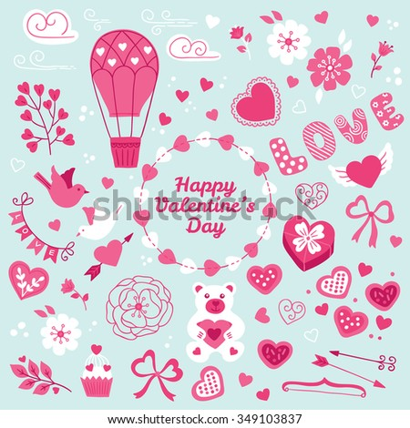 Collection of St. Valentine's Day design elements. Hearts, clouds, air balloon, bird, love, branch, flower, garland, gift, bow, teddy, cupcake, wreath, arrows, cookies, ribbon and tulip.  - stock vector