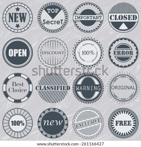 Collection of stamps. Set of labels. Vintage design     - stock vector