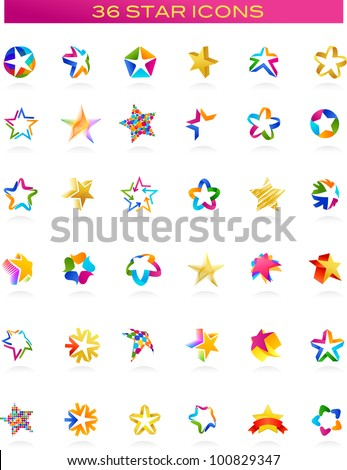 collection of star icons, vector - stock vector