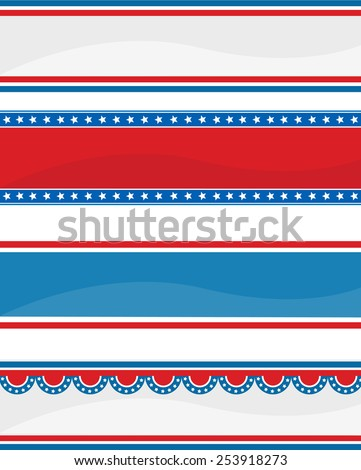 Collection of stars ans stripes USA  4th of July web header / banners on white - stock vector