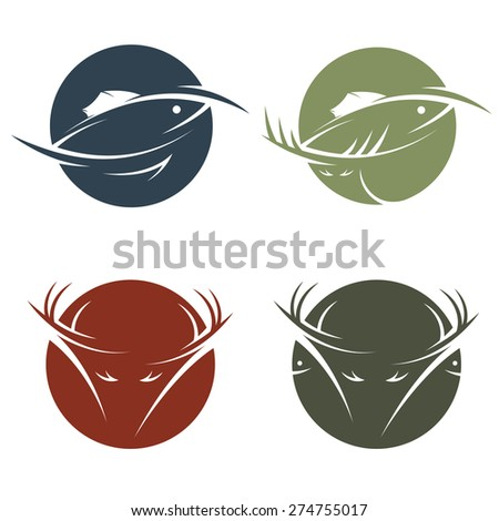collection of stickers with hunting and fishing theme - stock vector