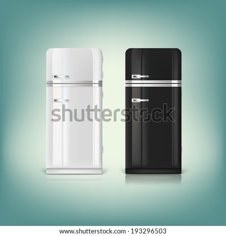 Collection of stylish retro refrigerators. Front view of a retro refrigerator. - stock vector