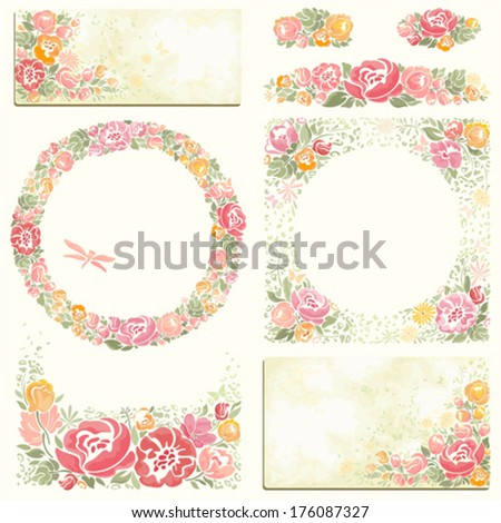 Collection of summer holidays symbols with flowers in vintage style. - stock vector