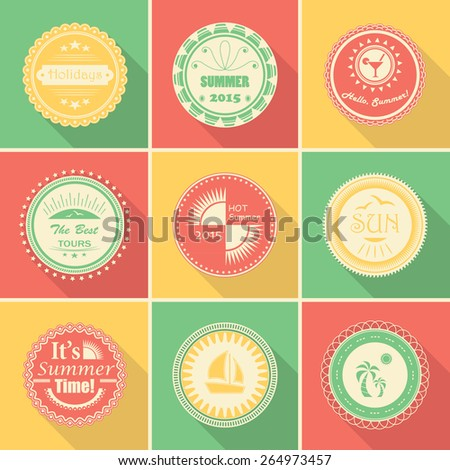 Collection of summer stamps. Vector set of summer labels and icons       - stock vector