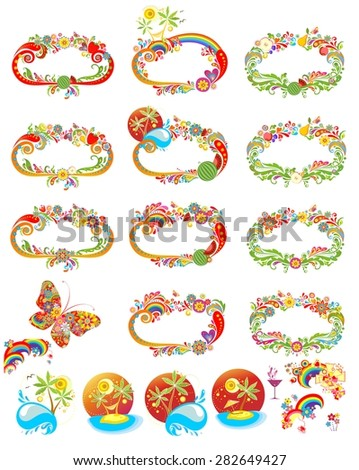 Collection of summery colorful abstract frames and design elements - stock vector