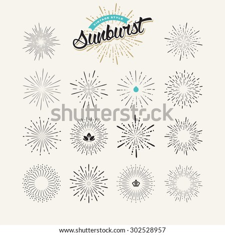 Collection of sunburst design elements. Premium quality elements and icons for badges,and labels, for luxury products, spa, cosmetics.      - stock vector
