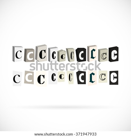 Collection of symbols alphabet, letter C newspapers cut style - stock vector