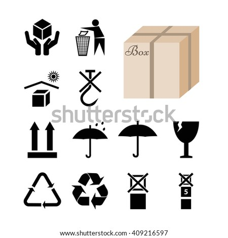 Collection of 12 symbols depicted on the package and box. Vector Illustration EPS10  - stock vector