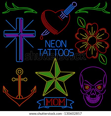 Collection of tattoo art in neon light style - stock vector
