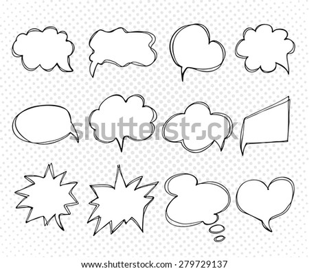 Collection of templates speech bubbles. Hand drawn. doodles. Elements of design comic books. Vector illustration. A set of banners for your design.  - stock vector
