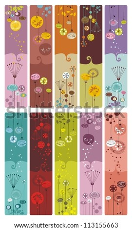 Collection of ten decorative colorful, floral bookmarks or banners - stock vector