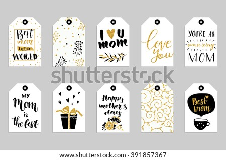 Collection of ten gold texture Happy Mother's day cute ready-to-use gift tags. Set of 10 printable hand drawn holiday label in black white and gold. Vector seasonal badge design - stock vector