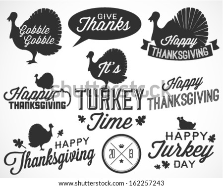 Collection of Thanksgiving Calligraphic Vector Illustrations in Retro Style - stock vector