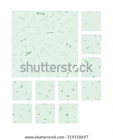 collection of the seamless pattern with different numbers 0 - 9 - stock vector