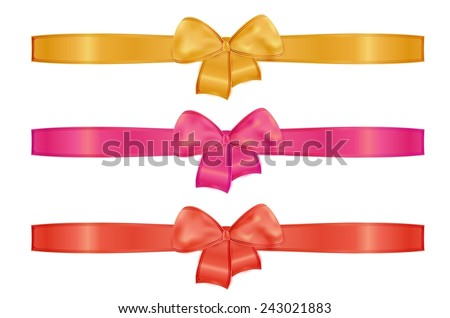 collection of the three ribbons with different color - gold or yellow, red, pink - stock vector