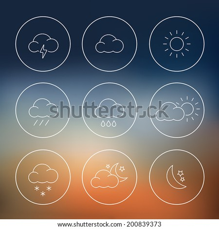 Collection of thin line weather icons in flat design style - stock vector