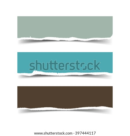 Collection of three web banners torn paper with space for your text isolated on white. Vector torn paper with ripped edges for websites.  - stock vector