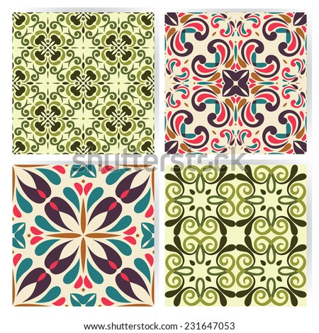 Collection of 4 tile's patterns, retro colored style  - stock vector