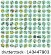 Collection of 121 tools doodled icons (vignette) with shadows, on background, in colours. Individual illustrations are isolated and in eps10 vector mode. - stock vector