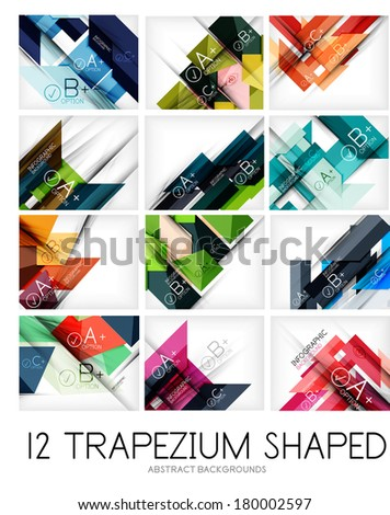 Collection of trapezium geometric shape backgrounds - 12 design templates. For business background | numbered banners | business lines | graphic website - stock vector