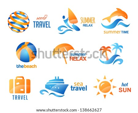Collection of Travel and Beach Icons - stock vector