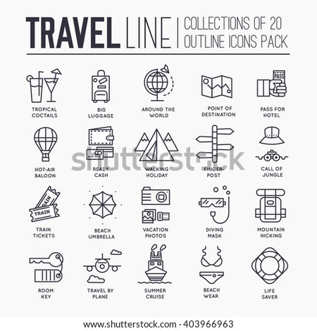 Collection of travel tools icons items design. Vacation rest with any elements set. Tour, trip, journey outline illustrations vector background. Tourist image on thin line style concept - stock vector