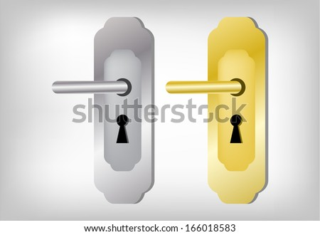 Collection of two latches,Door handle set - stock vector