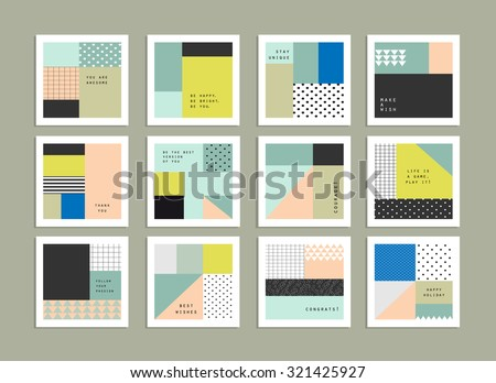 Collection of universal cards. Templates with trendy geometric patterns and colors. Gradients free. Isolated - stock vector