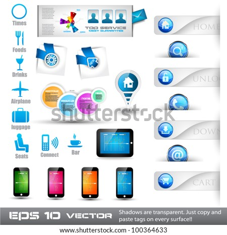 Collection of useful web stuffs: food and restoration icons, phones, tablet, buttons, pins, corner tags and so on - stock vector
