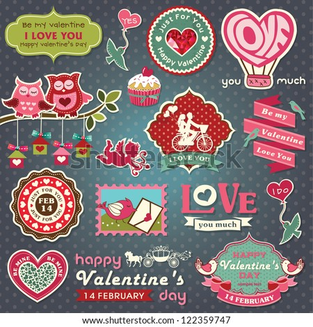 Collection of valentine design and wedding labels, elements with retro vintage styled design - stock vector