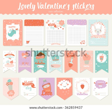Collection of Valentines day gift tags, stickers and labels templates. Romantic and beauty posters set. Lovely card for Valentine's day, wedding, marriage, save the date, bridal. Vector illustration - stock vector