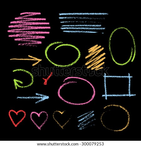Collection of varicolored grunge graphic elements. Handdrawn colorful chalk sketch on a blackboard. Arrows, frames, strokes and hearts - stock vector