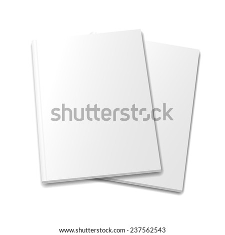 collection of various  blank white   books on white background - stock vector