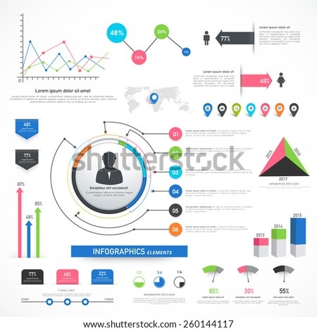 Collection of various business infographics including statistical bars and graph for your professional presentation.  - stock vector