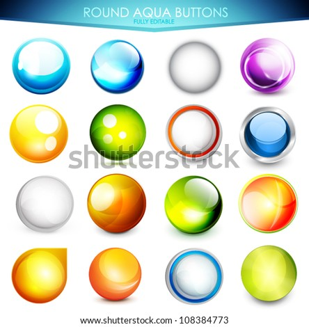 Collection of 16 various colorful aqua buttons - glossy shiny spheres. Fully editable EPS10 vector illustration - stock vector