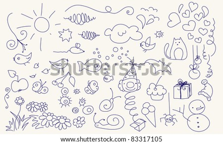 Collection of various doodle elements for  your design. - stock vector
