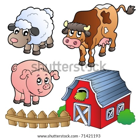Collection of various farm animals - vector illustration. - stock vector