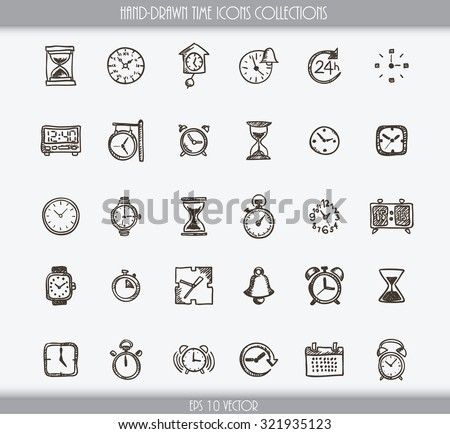 Collection of various hand drawn time icons - stock vector