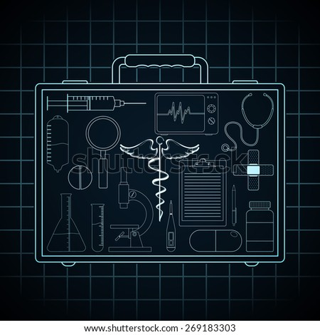 Collection of various medical elements in doctor's briefcase on graph paper background. - stock vector